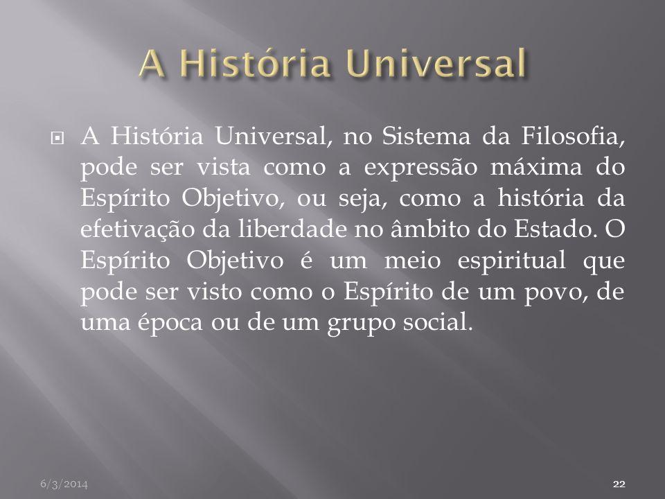 A História Universal, no Sistema da Filosofia, pode ser vista como a expressão máxima do Espírito Objetivo, ou seja, como a história da efetivação da