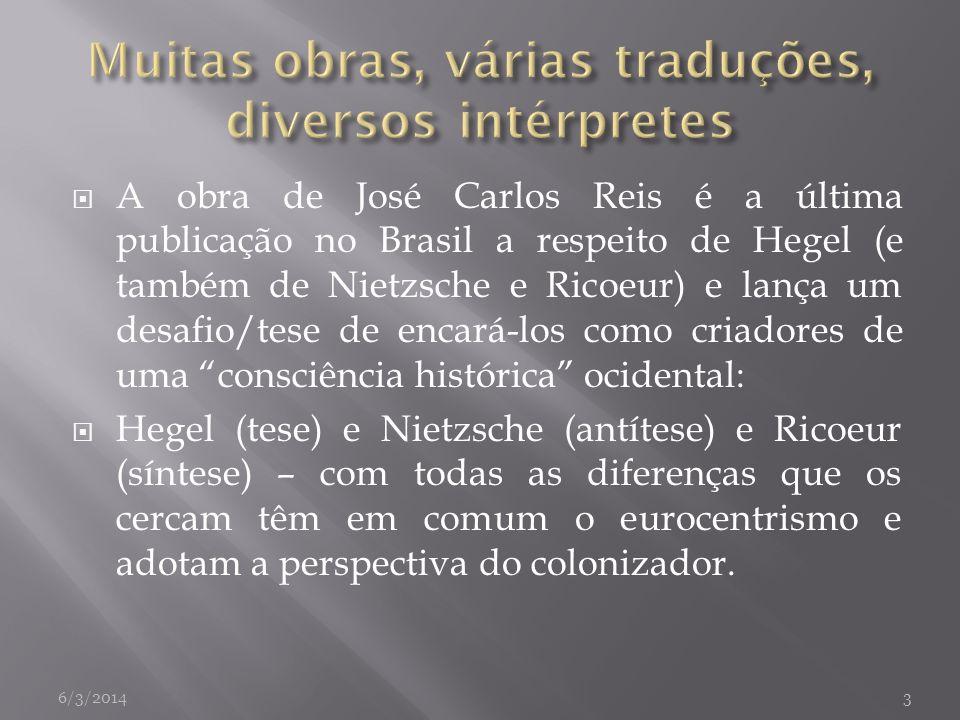 A obra de José Carlos Reis é a última publicação no Brasil a respeito de Hegel (e também de Nietzsche e Ricoeur) e lança um desafio/tese de encará-los