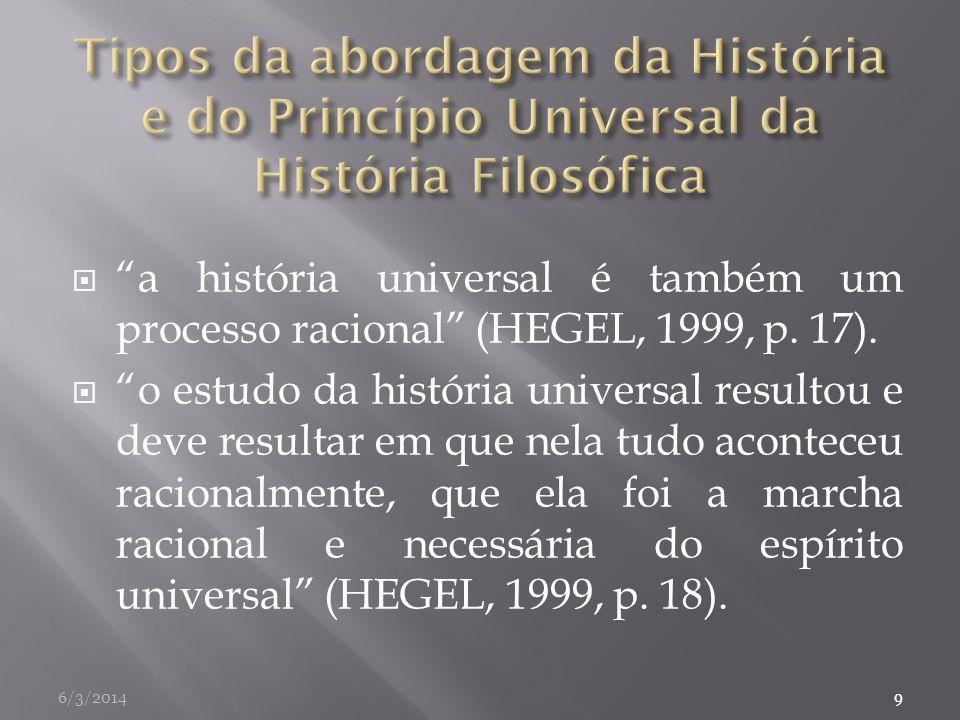 a história universal é também um processo racional (HEGEL, 1999, p. 17). o estudo da história universal resultou e deve resultar em que nela tudo acon