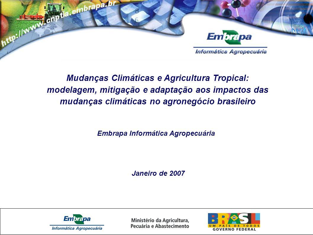 Mudanças Climáticas e Agricultura Tropical: modelagem, mitigação e adaptação aos impactos das mudanças climáticas no agronegócio brasileiro Embrapa Informática Agropecuária Janeiro de 2007