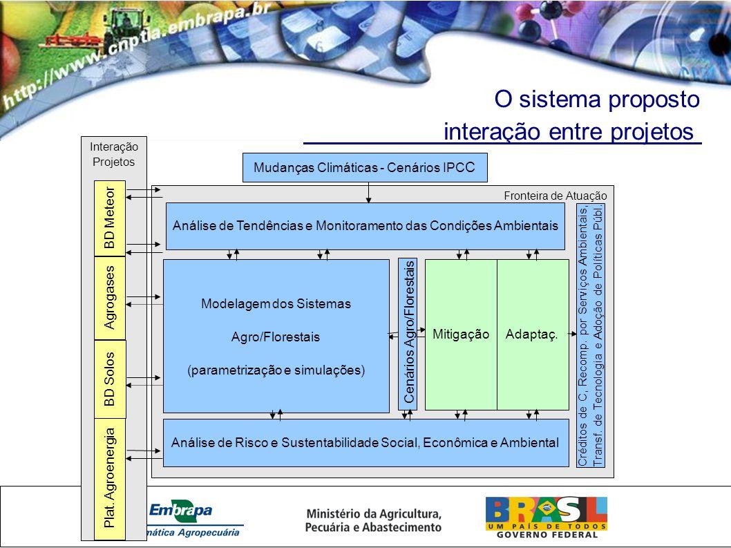 O sistema proposto interação entre projetos Fronteira de Atuação Modelagem dos Sistemas Agro/Florestais (parametrização e simulações) Mudanças Climáticas - Cenários IPC C Análise de Tendências e Monitoramento das Condições Ambientais Cenários Agro/Florestais MitigaçãoAdaptaç.