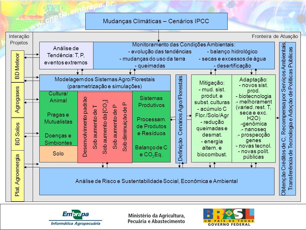 Interação Projetos Fronteira de Atuação Mudanças Climáticas – Cenários IPCC Monitoramento das Condições Ambientais: - evolução das tendências - balanç