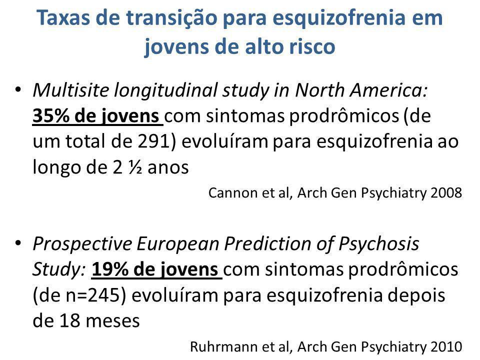 Taxas de transição para esquizofrenia em jovens de alto risco Multisite longitudinal study in North America: 35% de jovens com sintomas prodrômicos (d