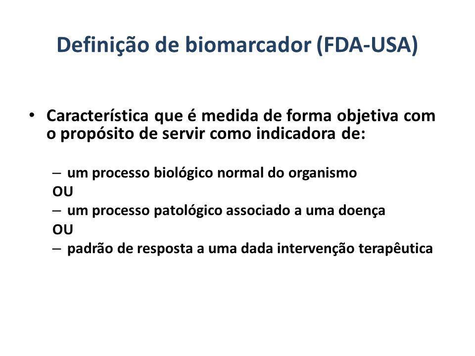 Definição de biomarcador (FDA-USA) Característica que é medida de forma objetiva com o propósito de servir como indicadora de: – um processo biológico