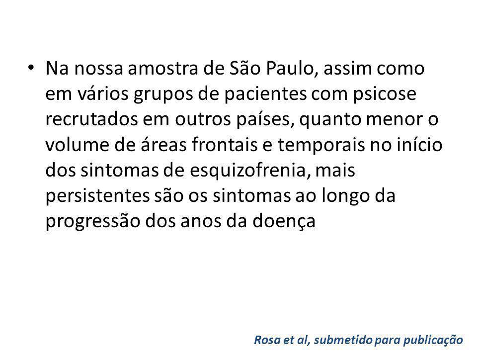 Na nossa amostra de São Paulo, assim como em vários grupos de pacientes com psicose recrutados em outros países, quanto menor o volume de áreas fronta