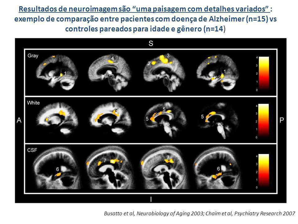 Resultados de neuroimagem são uma paisagem com detalhes variados : exemplo de comparação entre pacientes com doença de Alzheimer (n=15) vs controles p