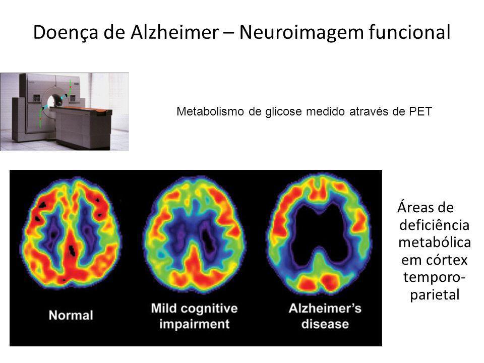 Doença de Alzheimer – Neuroimagem funcional Áreas de deficiência metabólica em córtex temporo- parietal Metabolismo de glicose medido através de PET