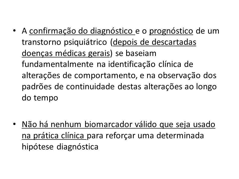 A confirmação do diagnóstico e o prognóstico de um transtorno psiquiátrico (depois de descartadas doenças médicas gerais) se baseiam fundamentalmente