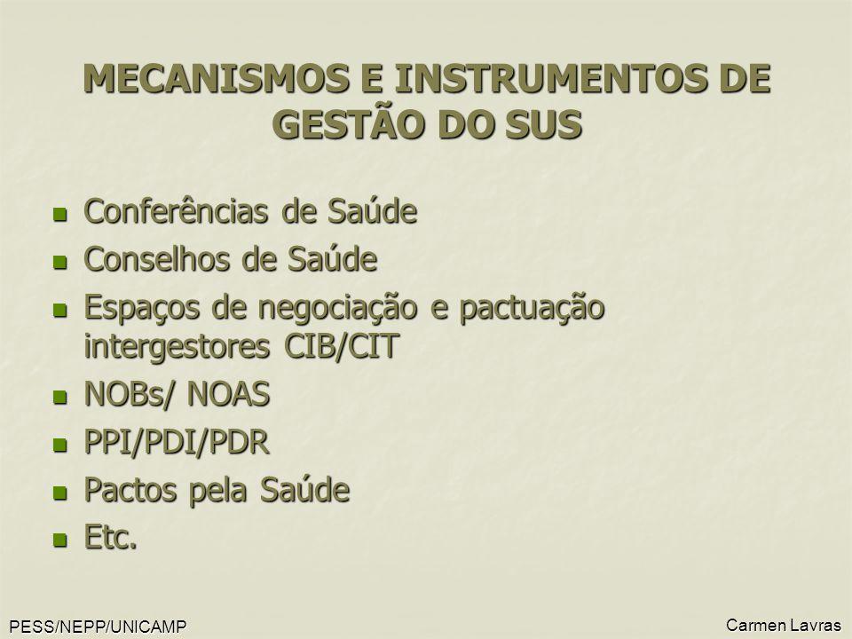 PESS/NEPP/UNICAMP Carmen Lavras MECANISMOS E INSTRUMENTOS DE GESTÃO DO SUS Conferências de Saúde Conferências de Saúde Conselhos de Saúde Conselhos de