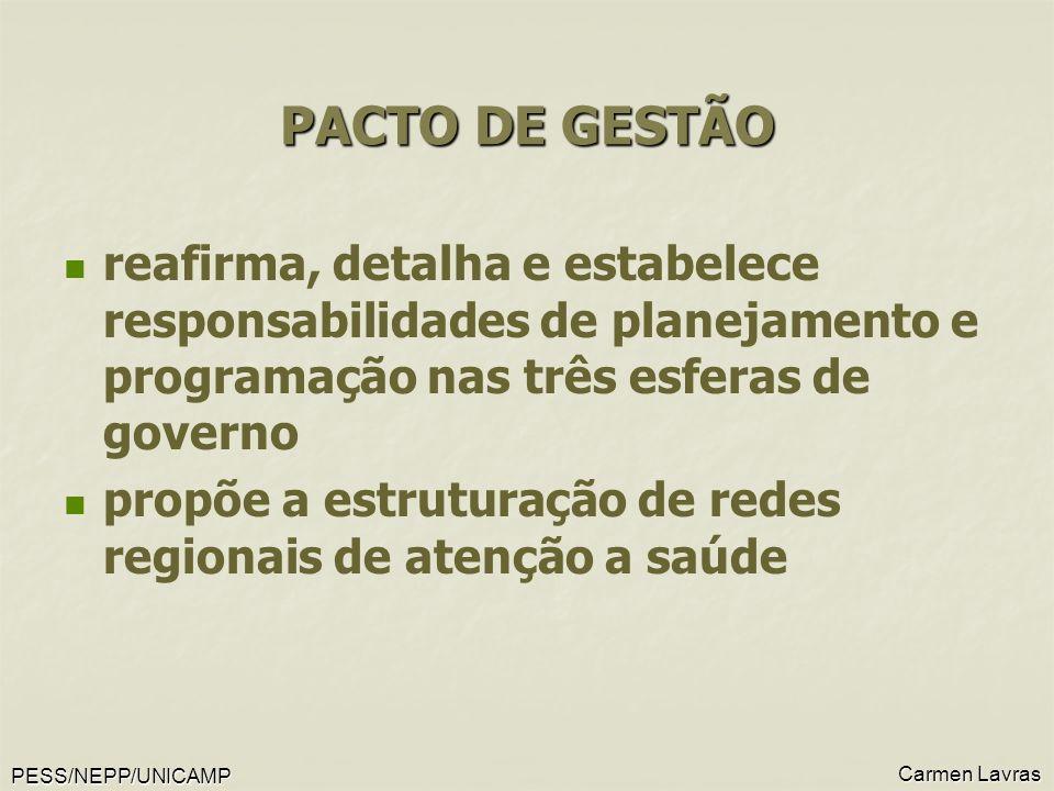 PESS/NEPP/UNICAMP Carmen Lavras PACTO DE GESTÃO reafirma, detalha e estabelece responsabilidades de planejamento e programação nas três esferas de gov