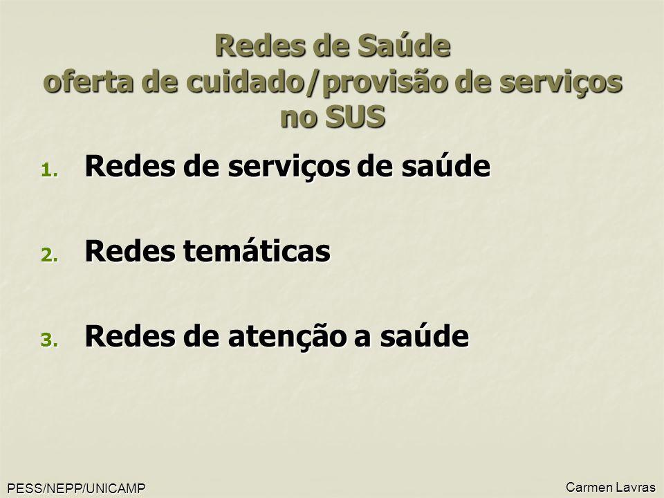 PESS/NEPP/UNICAMP Carmen Lavras Redes de Saúde oferta de cuidado/provisão de serviços no SUS 1. Redes de serviços de saúde 2. Redes temáticas 3. Redes