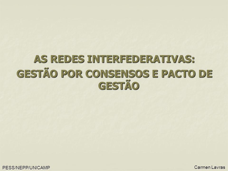 PESS/NEPP/UNICAMP Carmen Lavras AS REDES INTERFEDERATIVAS: GESTÃO POR CONSENSOS E PACTO DE GESTÃO
