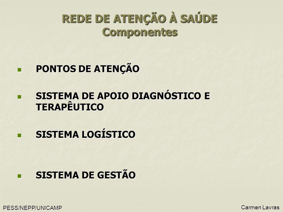 PESS/NEPP/UNICAMP Carmen Lavras REDE DE ATENÇÃO À SAÚDE Componentes REDE DE ATENÇÃO À SAÚDE Componentes PONTOS DE ATENÇÃO PONTOS DE ATENÇÃO SISTEMA DE APOIO DIAGNÓSTICO E TERAPÊUTICO SISTEMA DE APOIO DIAGNÓSTICO E TERAPÊUTICO SISTEMA LOGÍSTICO SISTEMA LOGÍSTICO SISTEMA DE GESTÃO SISTEMA DE GESTÃO