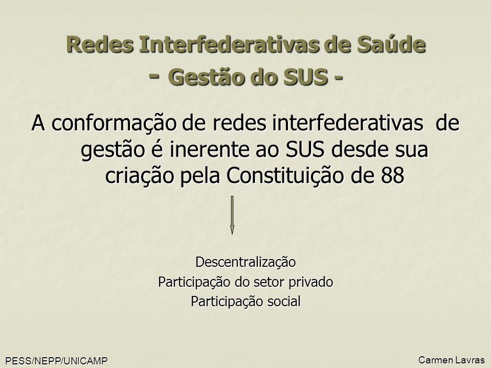 PESS/NEPP/UNICAMP Carmen Lavras Redes Interfederativas de Saúde - Gestão do SUS - A conformação de redes interfederativas de gestão é inerente ao SUS