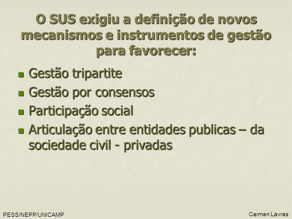 PESS/NEPP/UNICAMP Carmen Lavras O SUS exigiu a definição de novos mecanismos e instrumentos de gestão para favorecer: Gestão tripartite Gestão tripart