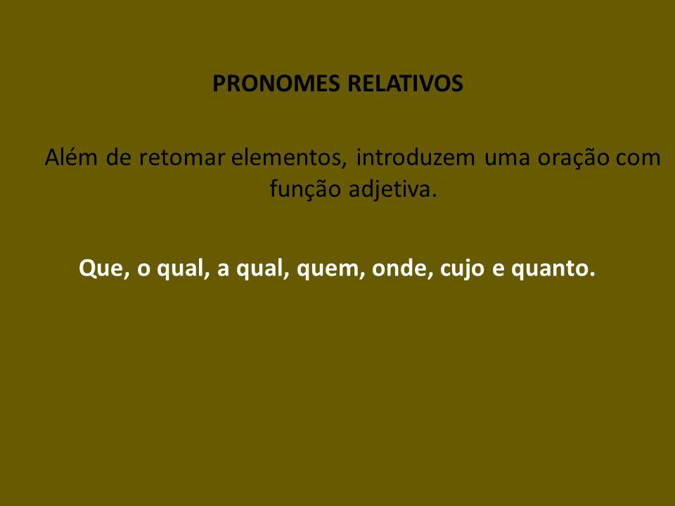 PRONOMES RELATIVOS Além de retomar elementos, introduzem uma oração com função adjetiva. Que, o qual, a qual, quem, onde, cujo e quanto.