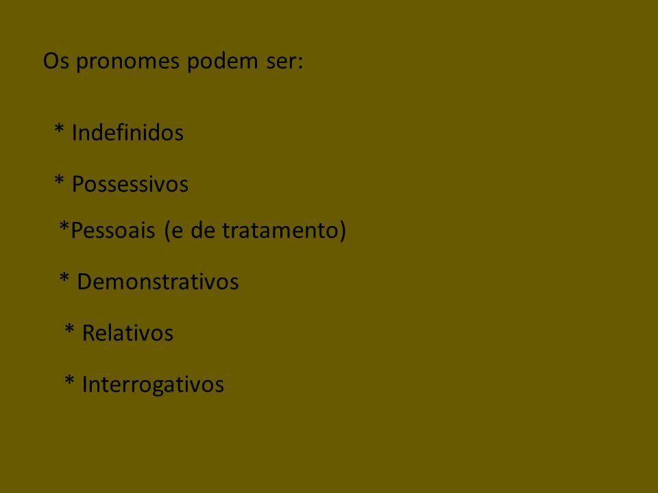 Os pronomes podem ser: *Pessoais (e de tratamento) * Possessivos * Indefinidos * Demonstrativos * Relativos * Interrogativos