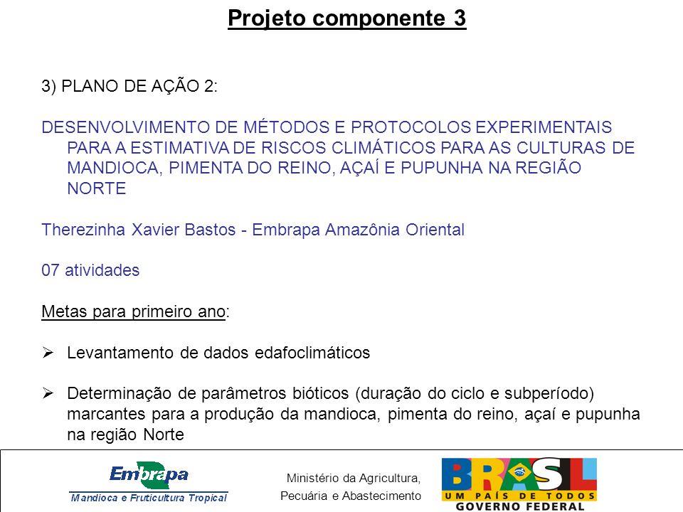 Ministério da Agricultura, Pecuária e Abastecimento Projeto componente 3 3) PLANO DE AÇÃO 2: DESENVOLVIMENTO DE MÉTODOS E PROTOCOLOS EXPERIMENTAIS PAR