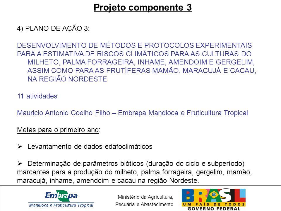 Ministério da Agricultura, Pecuária e Abastecimento Projeto componente 3 - PA3 Maracujá Cacau Milheto Palma forrageira
