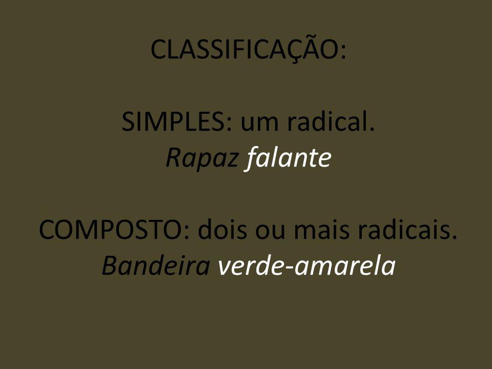 CLASSIFICAÇÃO: SIMPLES: um radical. Rapaz falante COMPOSTO: dois ou mais radicais. Bandeira verde-amarela