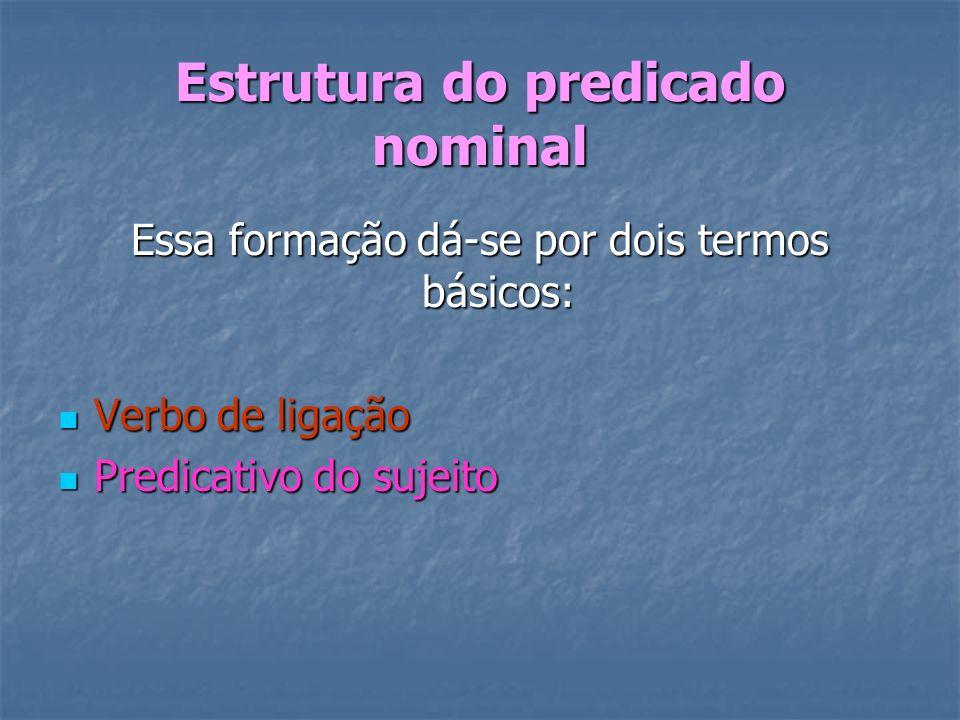 Estrutura do predicado nominal Essa formação dá-se por dois termos básicos: Verbo de ligação Verbo de ligação Predicativo do sujeito Predicativo do su