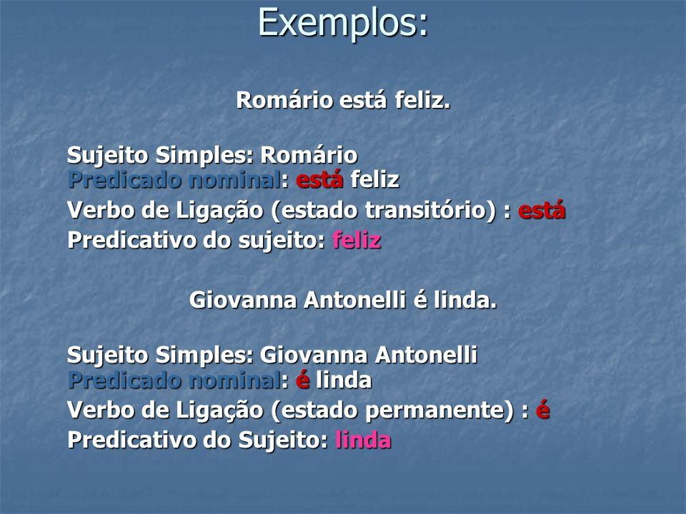Exemplos: Romário está feliz. Sujeito Simples: Romário Predicado nominal: está feliz Verbo de Ligação (estado transitório) : está Predicativo do sujei