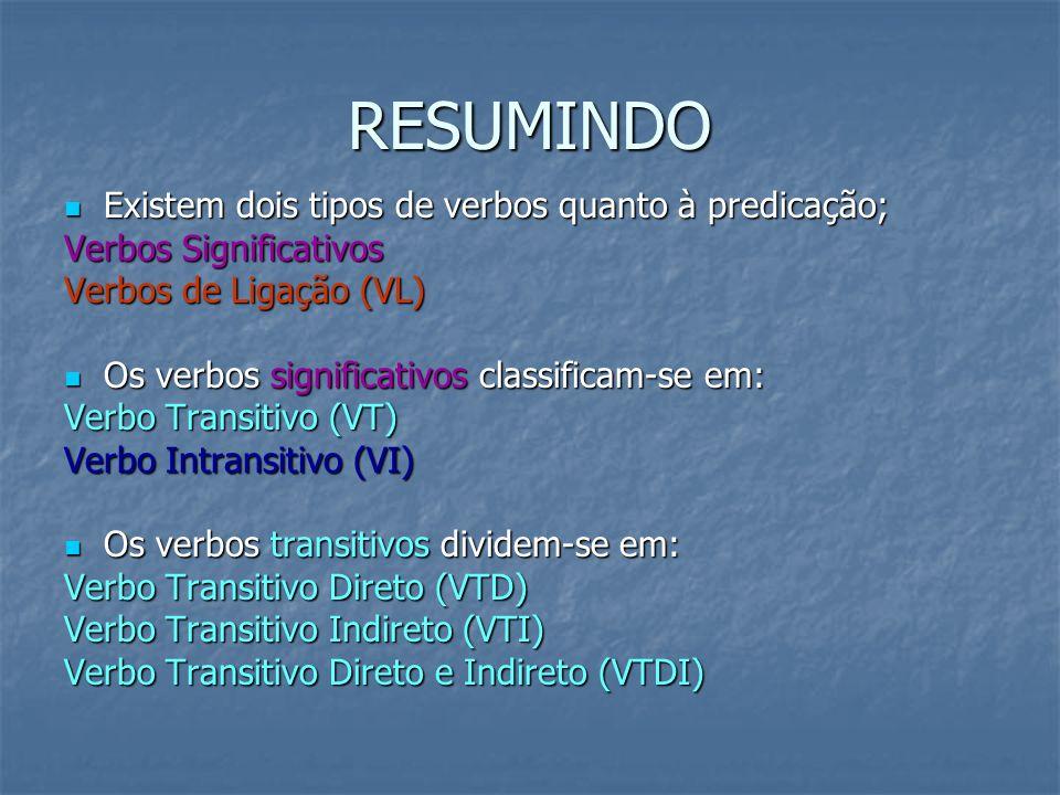 RESUMINDO Existem dois tipos de verbos quanto à predicação; Existem dois tipos de verbos quanto à predicação; Verbos Significativos Verbos de Ligação