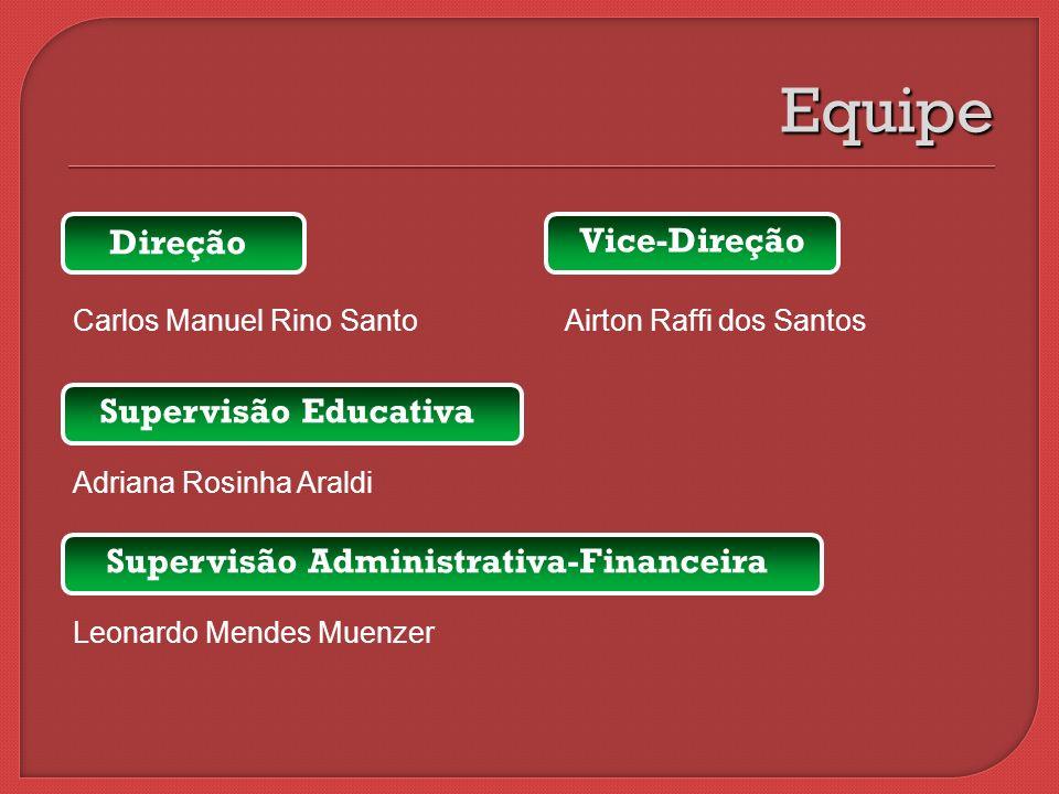 Direção Carlos Manuel Rino Santo Airton Raffi dos Santos Equipe Vice-Direção Supervisão Educativa Adriana Rosinha Araldi Supervisão Administrativa-Fin