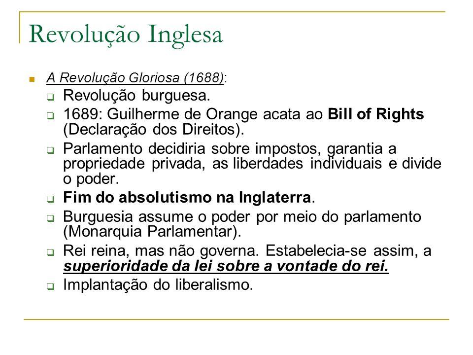 Revolução Inglesa A Revolução Gloriosa (1688): Revolução burguesa. 1689: Guilherme de Orange acata ao Bill of Rights (Declaração dos Direitos). Parlam