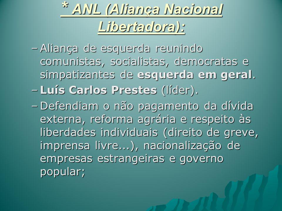 * ANL (Aliança Nacional Libertadora): –Aliança de esquerda reunindo comunistas, socialistas, democratas e simpatizantes de esquerda em geral. –Luís Ca