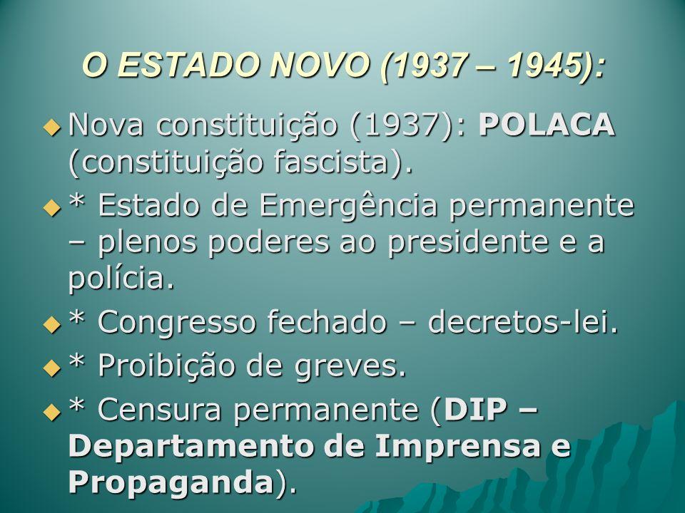 O ESTADO NOVO (1937 – 1945): Nova constituição (1937): POLACA (constituição fascista). Nova constituição (1937): POLACA (constituição fascista). * Est