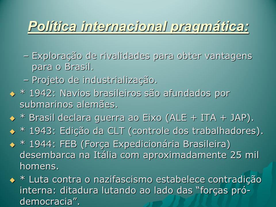 Política internacional pragmática: –Exploração de rivalidades para obter vantagens para o Brasil. –Projeto de industrialização. * 1942: Navios brasile