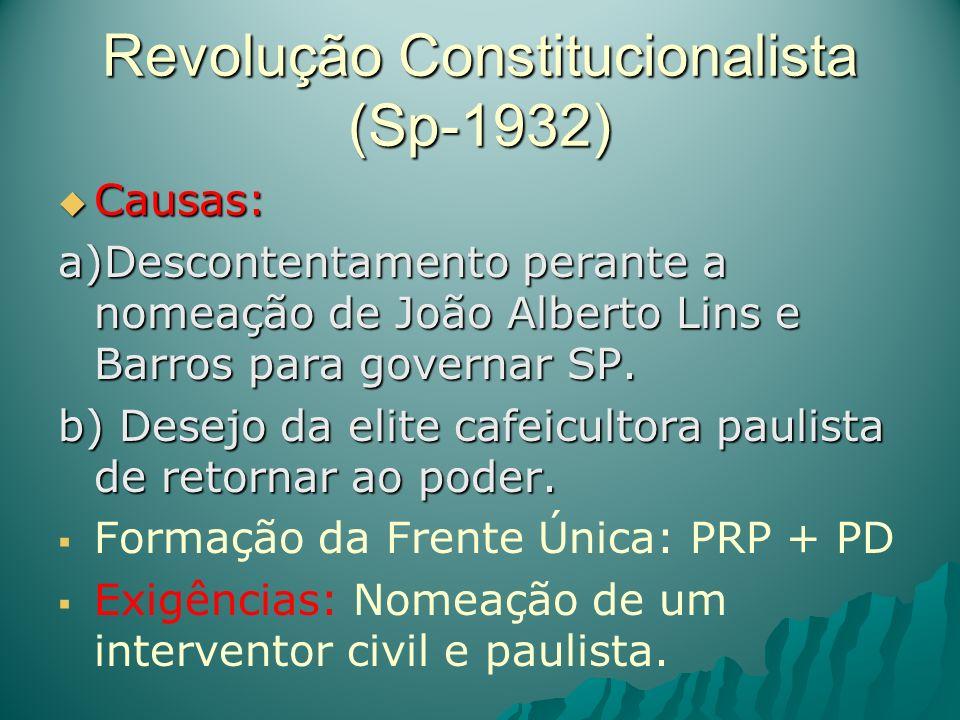 Revolução Constitucionalista (Sp-1932) Causas: Causas: a)Descontentamento perante a nomeação de João Alberto Lins e Barros para governar SP. b) Desejo