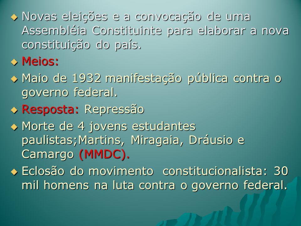 Novas eleições e a convocação de uma Assembléia Constituinte para elaborar a nova constituição do país. Novas eleições e a convocação de uma Assembléi