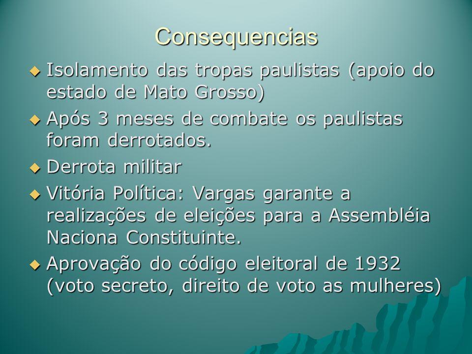 Consequencias Isolamento das tropas paulistas (apoio do estado de Mato Grosso) Isolamento das tropas paulistas (apoio do estado de Mato Grosso) Após 3