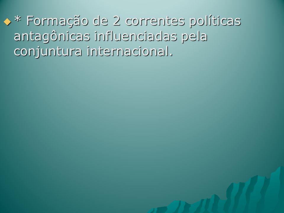 * Formação de 2 correntes políticas antagônicas influenciadas pela conjuntura internacional. * Formação de 2 correntes políticas antagônicas influenci