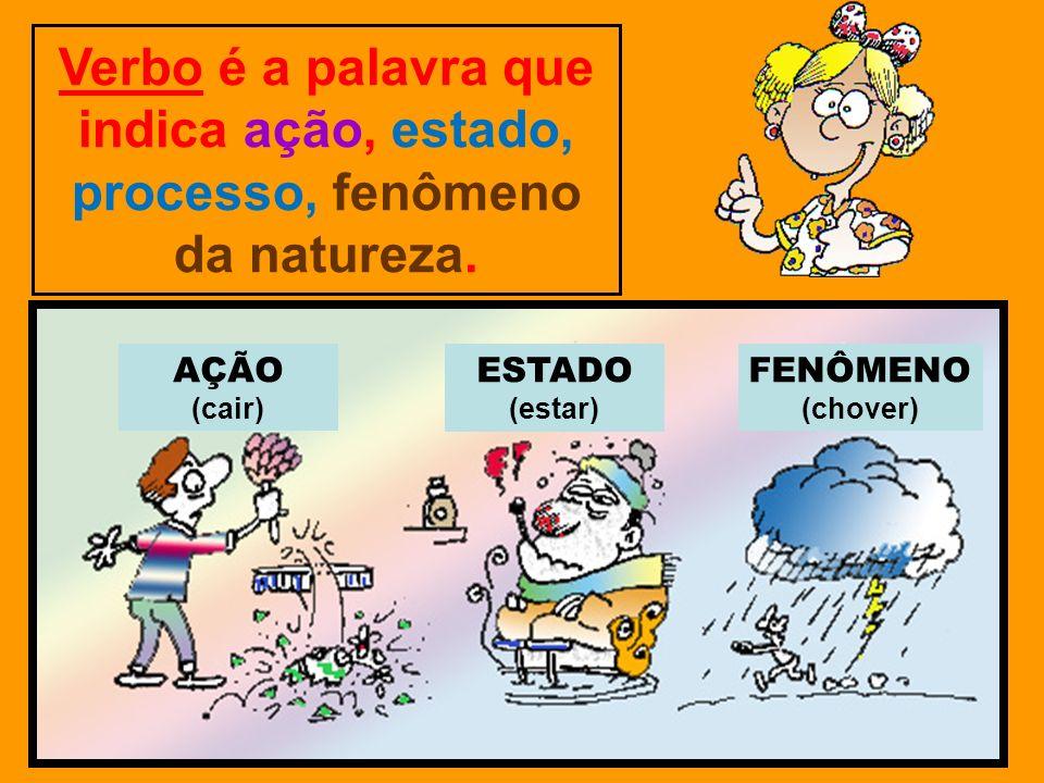Verbo é a palavra que indica ação, estado, processo, fenômeno da natureza. AÇÃO (cair) ESTADO (estar) FENÔMENO (chover)