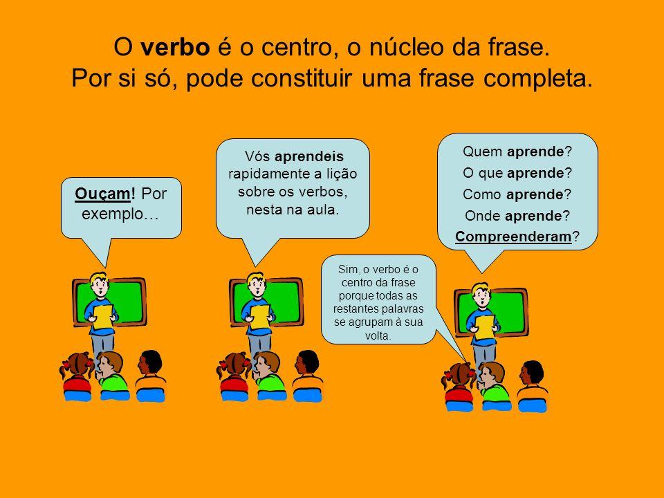 Verbo é uma palavra que normalmente vem precedida por um pronome pessoal - eu, tu, ele(ela), nós, vós, eles(elas) - que representa as pessoas verbais.