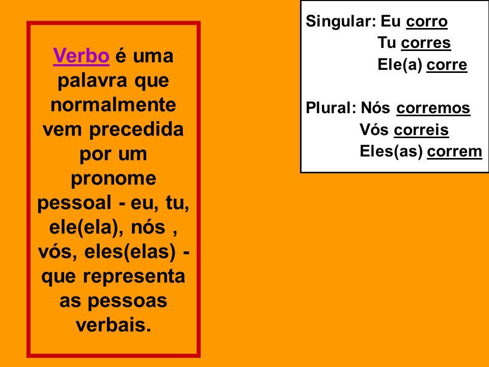 Pessoa / Número O verbo apresenta variação das três pessoas gramaticais (singular/plural) 1ª pessoa (a que fala) - Ex: Eu estudo; nós estudamos 2ª pessoa (a quem se fala) - Ex: Tu estudas; vós estudais 3ª pessoa (de quem se fala) - Ex: Ele estuda; eles estudam