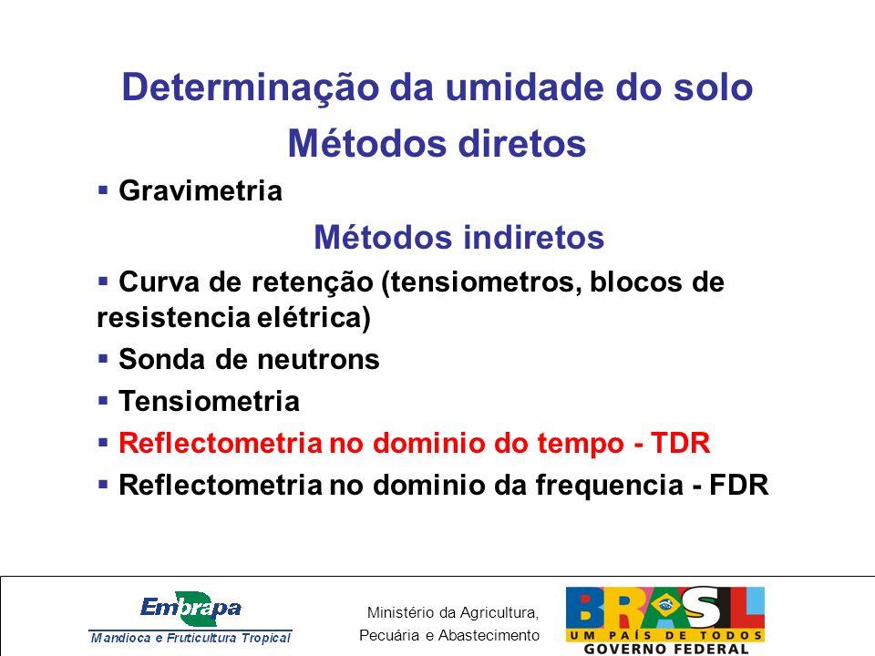 Ministério da Agricultura, Pecuária e Abastecimento Determinação da umidade do solo Métodos diretos Gravimetria Métodos indiretos Curva de retenção (tensiometros, blocos de resistencia elétrica) Sonda de neutrons Tensiometria Reflectometria no dominio do tempo - TDR Reflectometria no dominio da frequencia - FDR