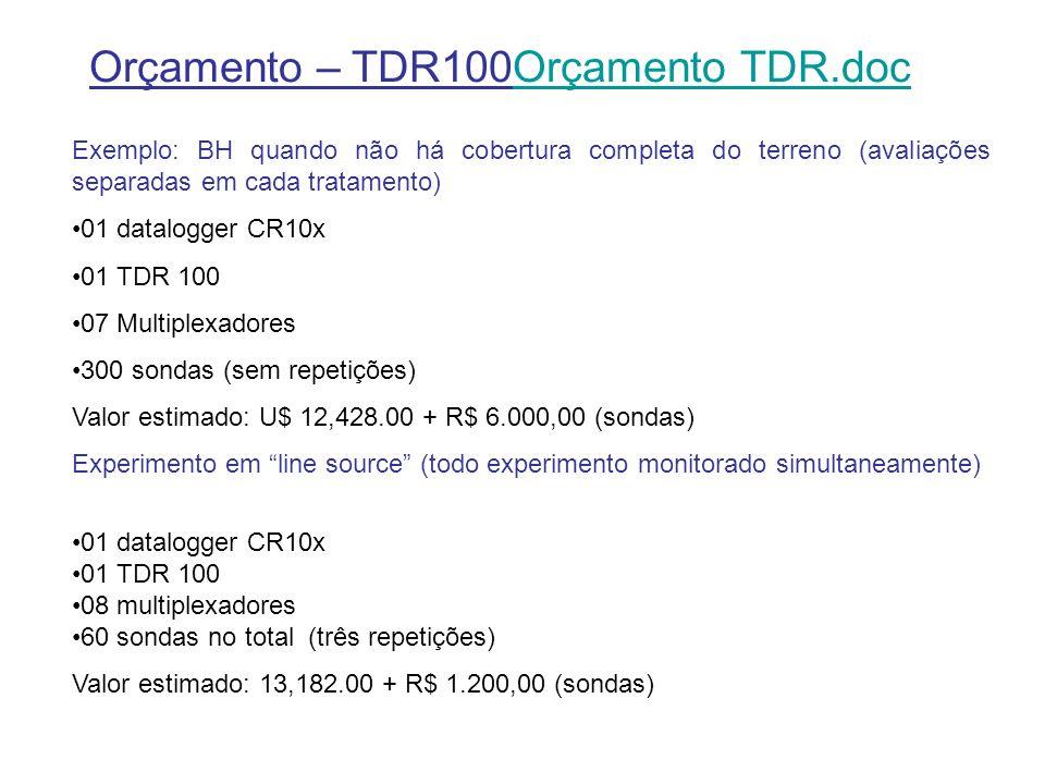 Orçamento – TDR100Orçamento TDR.docOrçamento TDR.doc Exemplo: BH quando não há cobertura completa do terreno (avaliações separadas em cada tratamento) 01 datalogger CR10x 01 TDR 100 07 Multiplexadores 300 sondas (sem repetições) Valor estimado: U$ 12,428.00 + R$ 6.000,00 (sondas) Experimento em line source (todo experimento monitorado simultaneamente) 01 datalogger CR10x 01 TDR 100 08 multiplexadores 60 sondas no total (três repetições) Valor estimado: 13,182.00 + R$ 1.200,00 (sondas)