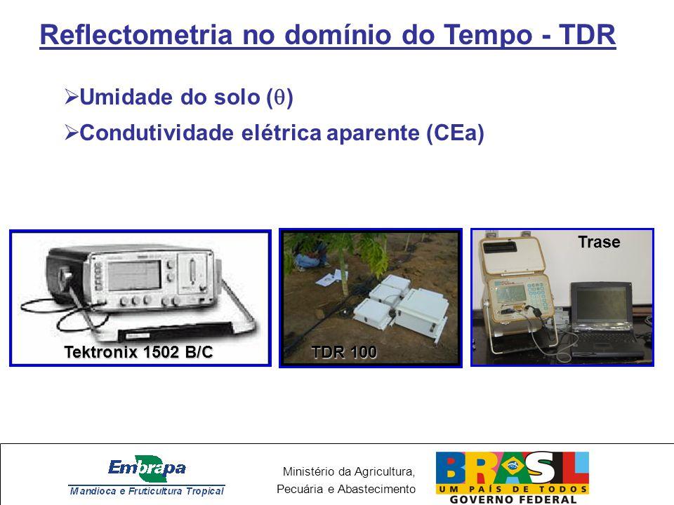 Ministério da Agricultura, Pecuária e Abastecimento Reflectometria no domínio do Tempo - TDR Umidade do solo ( ) Condutividade elétrica aparente (CEa) Tektronix 1502 B/C TDR 100 Trase