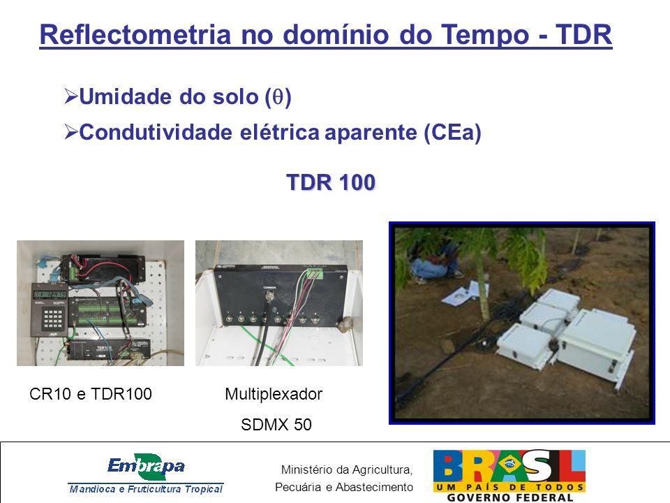 Ministério da Agricultura, Pecuária e Abastecimento Reflectometria no domínio do Tempo - TDR Umidade do solo ( ) Condutividade elétrica aparente (CEa) TDR 100 Multiplexador SDMX 50 CR10 e TDR100