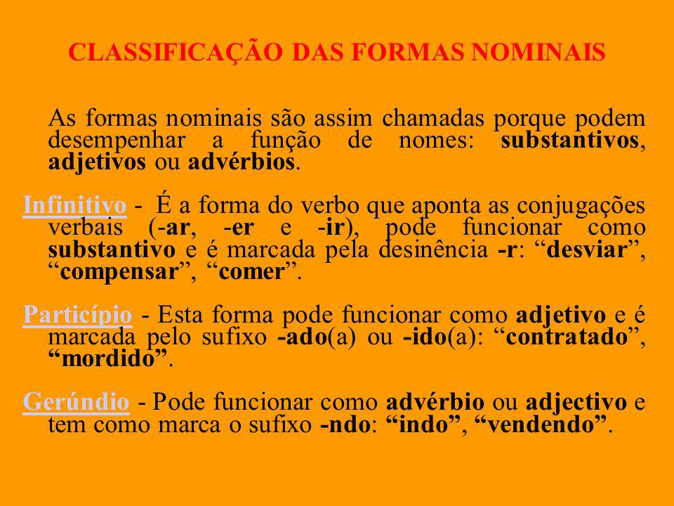 CLASSIFICAÇÃO DAS FORMAS NOMINAIS As formas nominais são assim chamadas porque podem desempenhar a função de nomes: substantivos, adjetivos ou advérbi