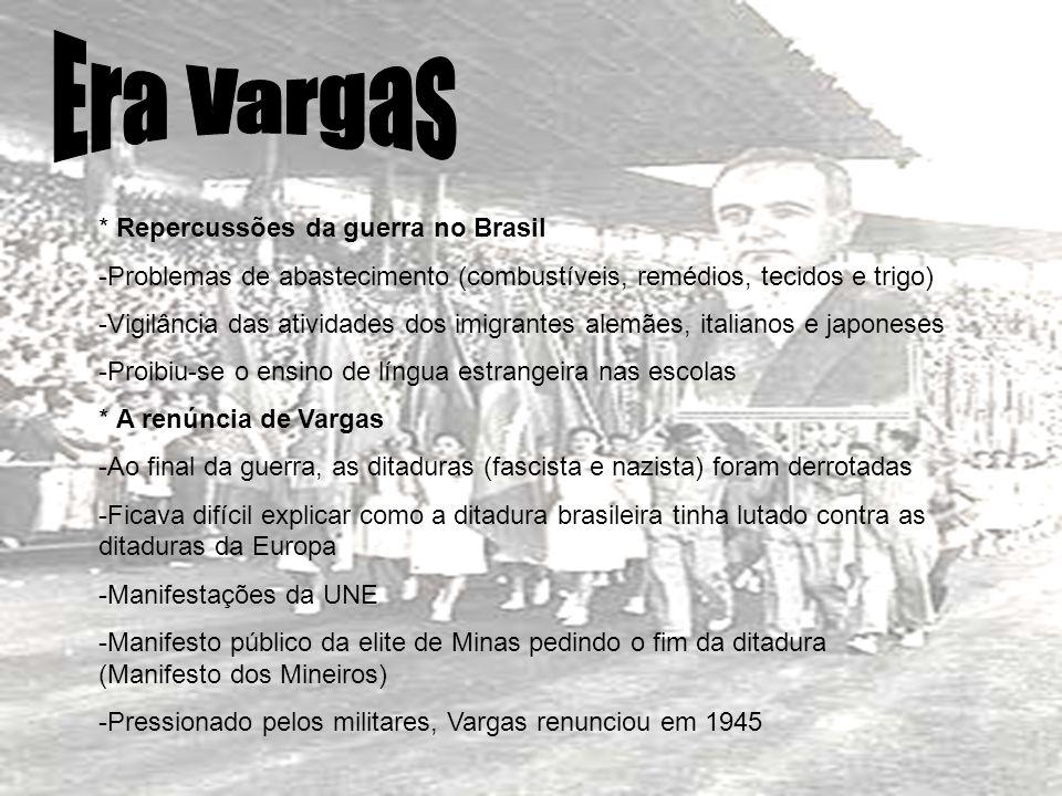 * Repercussões da guerra no Brasil -Problemas de abastecimento (combustíveis, remédios, tecidos e trigo) -Vigilância das atividades dos imigrantes ale