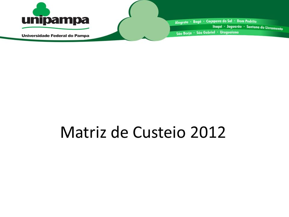 Matriz de Custeio 2012