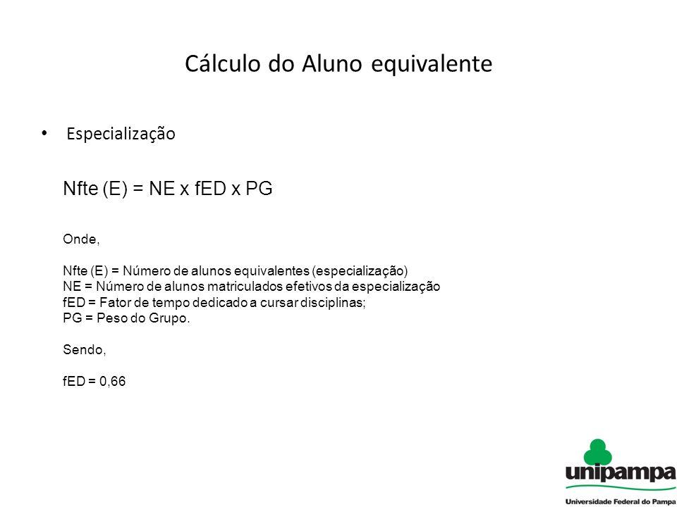 Cálculo do Aluno equivalente Especialização Nfte (E) = NE x fED x PG Onde, Nfte (E) = Número de alunos equivalentes (especialização) NE = Número de alunos matriculados efetivos da especialização fED = Fator de tempo dedicado a cursar disciplinas; PG = Peso do Grupo.