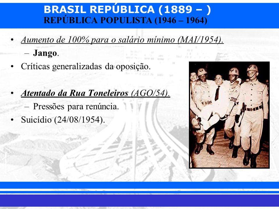 BRASIL REPÚBLICA (1889 – ) Prof. Iair iair@pop.com.br REPÚBLICA POPULISTA (1946 – 1964) Aumento de 100% para o salário mínimo (MAI/1954). –Jango. Crít