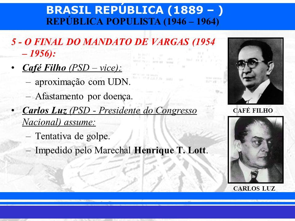 BRASIL REPÚBLICA (1889 – ) Prof. Iair iair@pop.com.br REPÚBLICA POPULISTA (1946 – 1964) 5 - O FINAL DO MANDATO DE VARGAS (1954 – 1956): Café Filho (PS