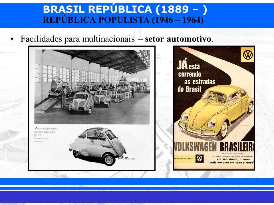 BRASIL REPÚBLICA (1889 – ) Prof. Iair iair@pop.com.br REPÚBLICA POPULISTA (1946 – 1964) Facilidades para multinacionais – setor automotivo.